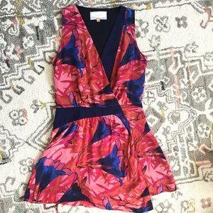 Leifsdottir Pink Blue Floral Silk Mini Wrap Dress